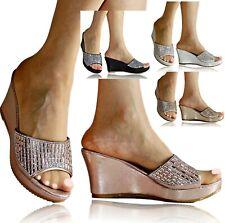 Mujer Damas Tacón Con Plataforma Diamante Fiesta Boda Zapatos Sandalias Mulas Talla CT-22