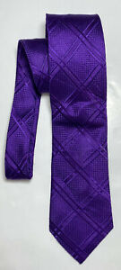 DONALD TRUMP PURPLE TIE 100% SILK PLAIDS 60''/3'' EXCELLENT CONDITION