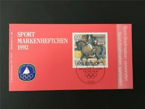 GERMANY BOOKLET 1992 SPORT SPORTS AID OLYMPIC COMMITTEE HORSE RIDING /m2463