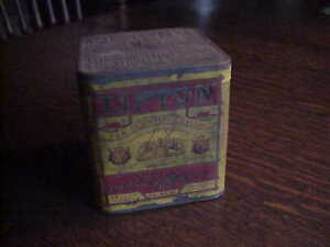 ANTIQUE VINTAGE LIPTON'S TEA TIN BOX WITH PAPER LABLE EMBOSSED OLD