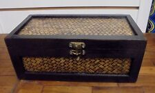 firtrade handmade wooden rattan storage box with 4 compartments brand new