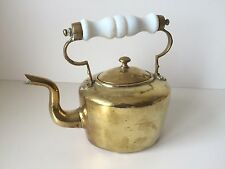 Vintage Small Brass Teapot With Swan Neck Spout & White Handle