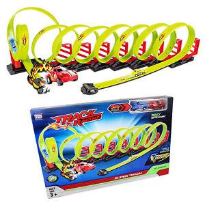 Hot Racing Car Wheels 8 Loop Race Track Play Set 360 Degrees 36 Piece Pull Back