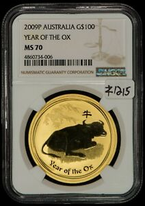 2009-P Australia G$100 Year of The OX 1 oz Gold Coin - NGC MS 70 - SKU-Z1215