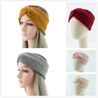 Women Crochet Stripes Wide Side Knitted Cross Headband Elastic Hair Bands Warm