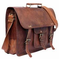 """Men's Pure Leather Messenger Shoulder Bag Satchel 15"""" Laptop Briefcase Attache"""