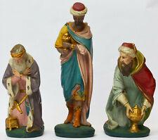3 Krippenfiguren Kirchenfiguren Gips handbemalt Heilige 3 Könige Höhe 21 - 30 cm