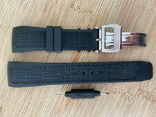 22mm Black OEM curved Rubber strap & clasp fits IWC AQUATIMER watches + pins