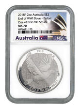 2018 P Australia 2 Oz Silver Dove $2 Piedfort NGC MS70 one of First 200 Struck