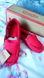 WOMENS RED CANVAS MOCKS FLATS SHOES LOAFERS MOCCASINS NEW & BOXED