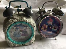 More details for 2 vintage alarm clocks 1 flintstones / 1 disney both battery operated
