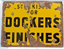 DOCKERS FINISHES ADVERTISE SIGN VINTAGE ENAMEL PORCELAIN YELLOW COLLECTIBLES OLD