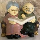 Old Couple Piggy Bank Vintage Ceramic Figurine Grandparents Wearing Glasses