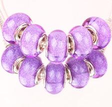 5pcs SILVER MURANO bead LAMMWORK fit EuroMean Charm Bracelet #B64