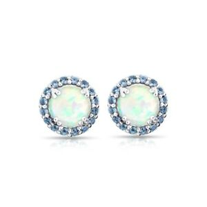 Round Halo Simulated Opal & Tanzanite Stud Earrings in Sterling Silver