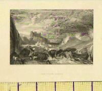 c1800 ANTIQUE GEORGIAN PRINT ~ TANTALLON CASTLE FIRTH OF FORTH SCOTLAND