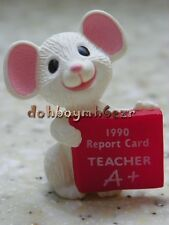 Hallmark Merry Miniatures 1990 Teacher Mouse Report Card Miniature