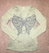 Girl's Uproar long sleeve butterfly school top shirt girl L 14/16 green