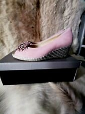 VAN DAL ROSE SUEDE AND SILVER WEAVE OPEN TOE SHOES UK SIZE 6 - STILL IN BOX