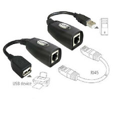 2PC USB Extension Ethernet RJ45 Cat5e/6 Cable LAN Adapter Extender Over Repeater