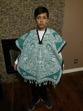 Mexican Poncho , Calendario azteca ,Blanket Serape Gaban , Kids, (6 - 12)  TEAL