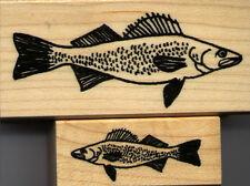 """mounted  rubber stamps  Walleye set  wood mounts 1 1/4"""" X 3"""" and 3/4"""" X 1 3/4"""""""