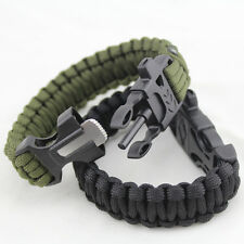 Survival Tactical Bracelet Outdoor Paracord Scraper Whistle Flint Fire Gear kits