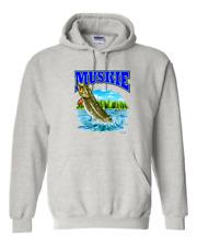 Hoodie Pullover Sweatshirt Fish Muskie Fishing Wildlife Animals