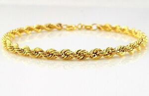 9ct gelbgold hohl seil kette armband 19cm/7.5 zoll