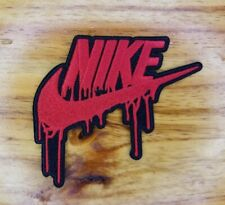 """Nike Drip! Red 3"""" embroidered Nike drip iron on patch, no sewing needed."""
