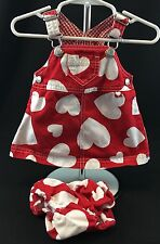 Gymboree Baby Girl 0-3 Months Valentines Heart Overalls Dress & Bloomers Red Wht