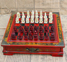 Terra-Cotta Warriors Antique Chess Set Wooden Chess Board Chess Pieces Set