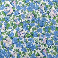 """36"""" Vintage Lightweight Cotton Fabric Small Floral, Blue Doll Clothes Per 1/2 Yd"""
