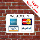 We accept credit cards sign 5573 Amex Mastercard Visa PayPal Payment card signs