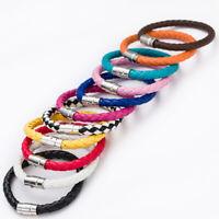 Fashion Unisex Women Men Handmade Braided Leather Steel Magnetic Clasp Bracelet
