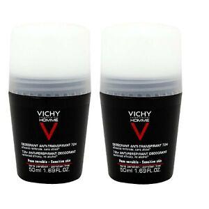 Vichy Homme Antitranspiranter Deoroll-on 72h,Pack of 2 (2 x 50ml)