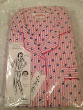 Jodie Arden Pajama Set 100% Cotton Flannel Brushed Pink Floral Size 40 New VTG