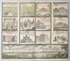 1720 J.B Homann - SWEDEN panorama STOCKHOLM Original Antique 12 views.