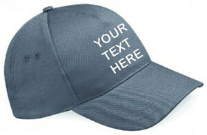 Embroidered/Personalised Baseball Cap, Graphite Grey, Text/Logo
