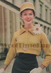 Knitting Pattern Lady's VIntage 1950s Cropped/Shortie Jacket/Coat. DK Yarn.