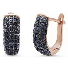 Rose Gold Plated Pave Black Onyx .925 Sterling Silver Earrings