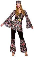 Ladies Peace Lovin Hippie Fancy Dress Costume 60's 70's Hen Party Retro