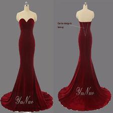 Romantic Mermaid Burgundy Velvet Evening Dresses Strapless Long Prom Party Gown