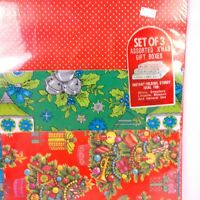 Vintage Christmas Gift Shirt Boxes Sealed Pack of 3 Trees Ornaments Dots Vibrant