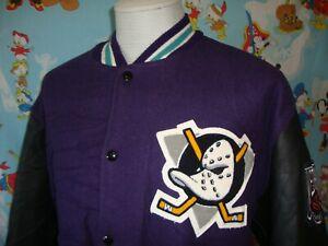 Vintage 90's Anaheim Might Ducks DeLong Letterman Varsity Jacket XL
