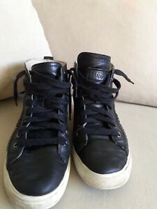 Geox Black Leather Ankle Trainers With Stud Details Size 6 (39)