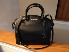Authentic Michael Kors Riley Large Satchel Pebbled Leather Black New W/Tag $368