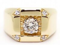 1.10 Ct Mens Round Diamond Wedding Engagement Pinky Ring 14K Yellow Gold Finish