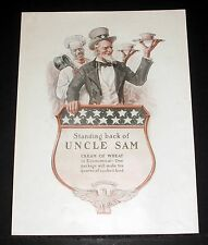 1918 OLD MAGAZINE PRINT AD, CREAM OF WHEAT CEREAL, STANDING BACK, UNCLE SAM ART!