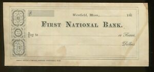 1860's Westfield Massachusetts First National Bank Samuel Bowles & Co. Check